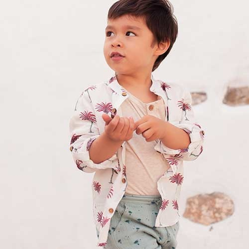 Louise Misha Boys Organic Shirt Amod White Tropical (Blouse)-2