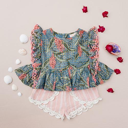 Louise Misha Top Figaria Lagoon Leaves (Shirt)-2