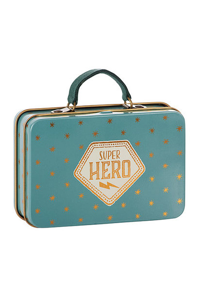 Maileg Metal Suitcase, Blue, Gold stars (speelgoed koffertje)