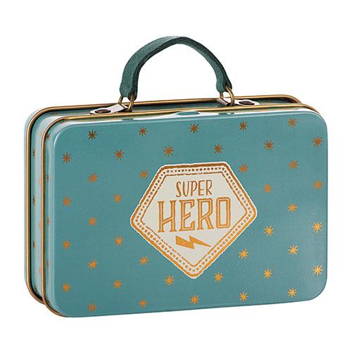 Maileg Metal Suitcase, Blue, Gold stars (speelgoed koffertje)-1