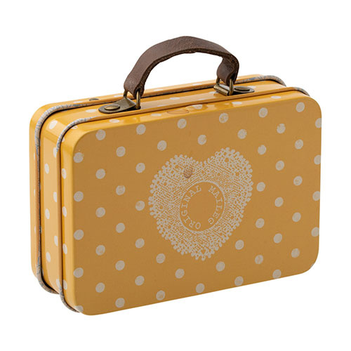Maileg Suitcase, metal - Yellow dot (speelgoed koffertje)-1