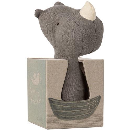 Maileg Noah's Friends, Rhino Rattle (rammelaar neushoorn)-2