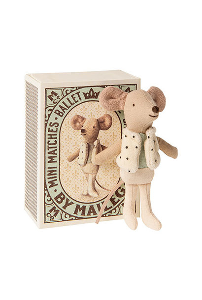 Maileg Dancer in matchbox, Little brother mouse (muis)