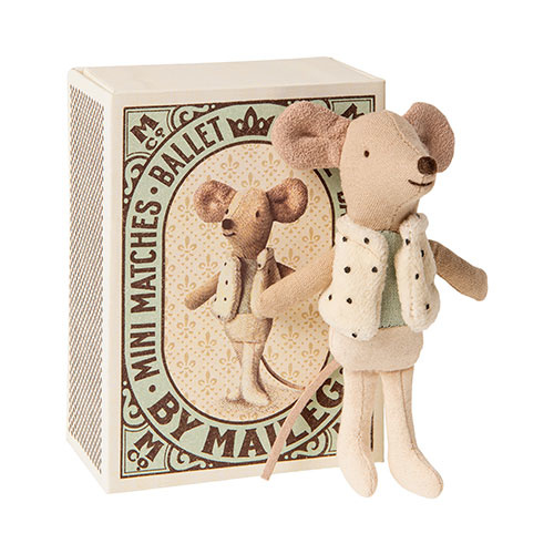 Maileg Dancer in matchbox, Little brother mouse (muis)-1