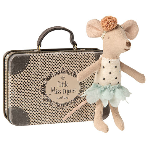 Maileg Little Miss Mouse in suitcase, Little sister (muis)-1