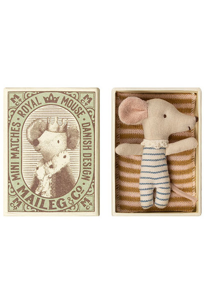 Maileg Baby mouse, Sleepy/wakey in box - Boy (muis)