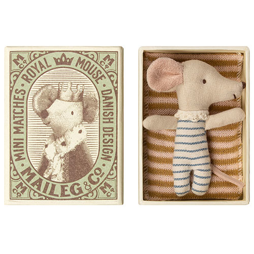 Maileg Baby mouse, Sleepy/wakey in box - Boy (muis)-1