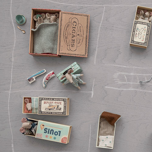 Maileg Mum & dad mice in cigar box (muis)-3