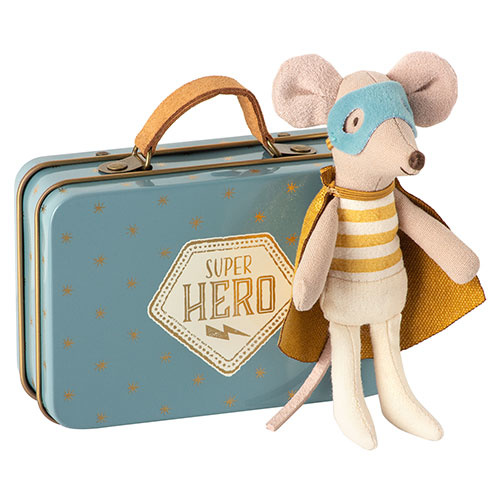 Maileg Superhero mouse, Little brother in suitcase  (muis)-1