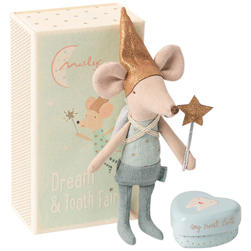 Maileg Mouse, Tooth Fairy, Boy, w. metal heart (muis)-1