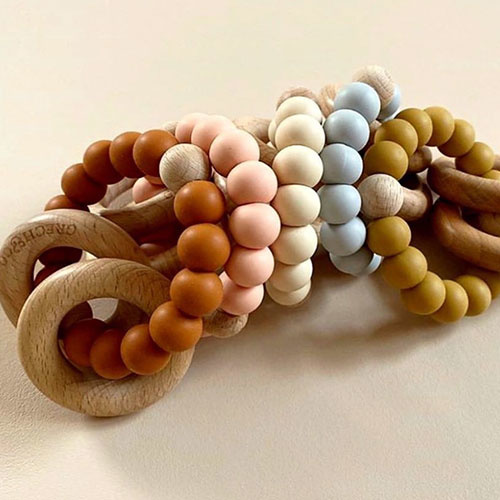 Grech & Co Sedona Teething Ring + Rattle Buff (Bijtring en rammelaar)-4