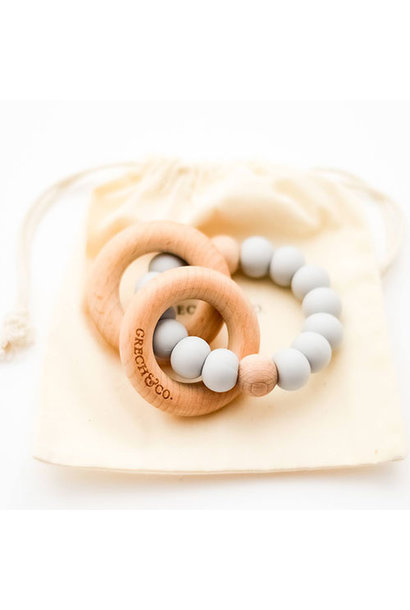 Grech & Co Sedona Teething Ring + Rattle Glacier (Bijtring en rammelaar)