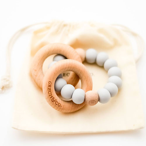 Grech & Co Sedona Teething Ring + Rattle Glacier (Bijtring en rammelaar)-1
