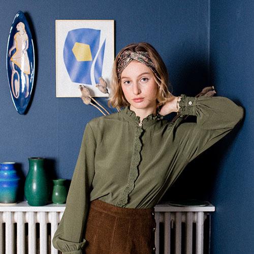 Louise Misha Women Blouse Edith Olive (Top)-3