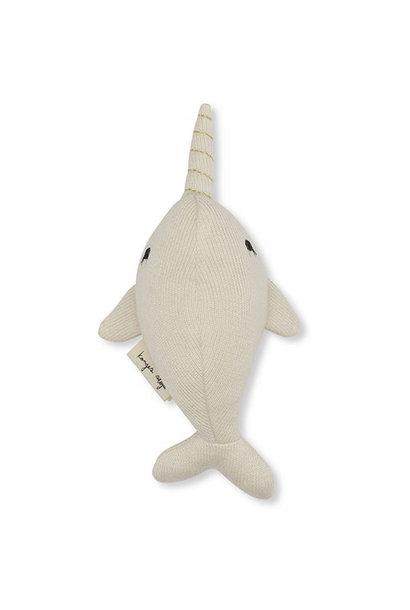 Konges Slojd Mini Nar Whale Rattle Off White (Knuffel Rammelaar)