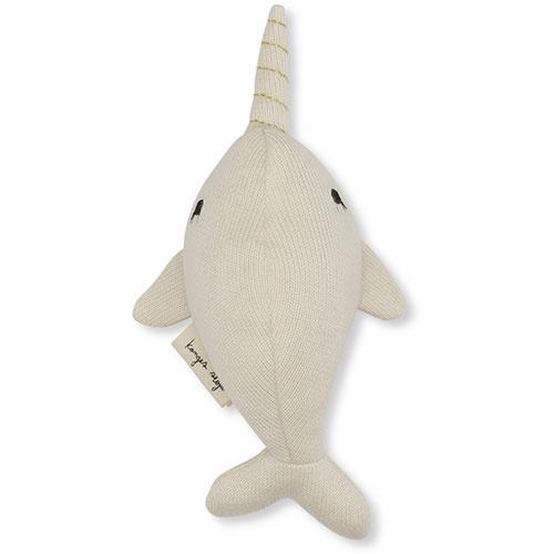 Konges Slojd Mini Nar Whale Rattle Off White (Knuffel Rammelaar)-1