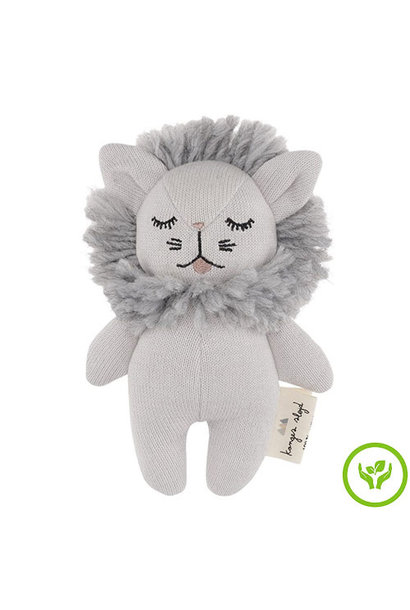 Konges Slojd Mini Lion Rattle Grey Melange (Knuffel Rammelaar)