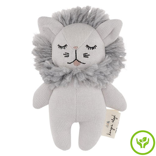 Konges Slojd Mini Lion Rattle Grey Melange (Knuffel Rammelaar)-1