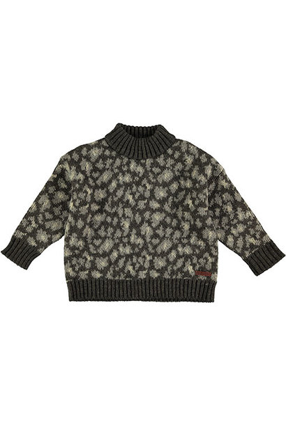 Tocoto Vintage Animal Print Knitted Sweater Dark Brown (Trui)
