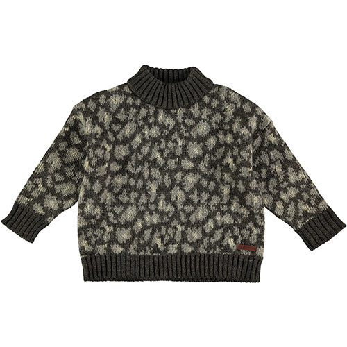 Tocoto Vintage Animal Print Knitted Sweater Dark Brown (Trui)-1