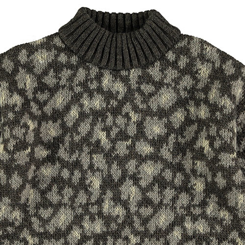Tocoto Vintage Animal Print Knitted Sweater Dark Brown (Trui)-2