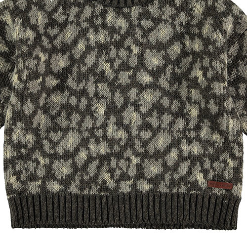 Tocoto Vintage Animal Print Knitted Sweater Dark Brown (Trui)-3