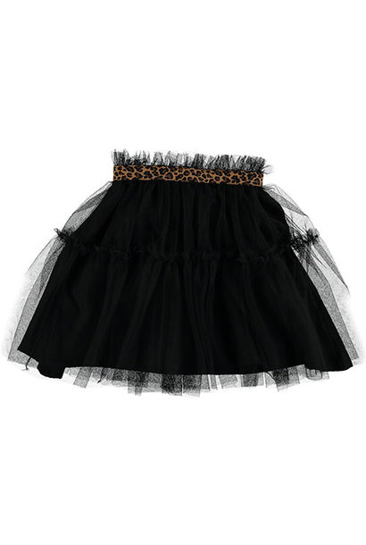 Tocoto Vintage Tulle Skirt with Animal Print Waistband Black (Rok)