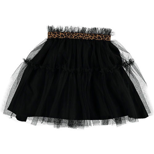 Tocoto Vintage Tulle Skirt with Animal Print Waistband Black (Rok)-1