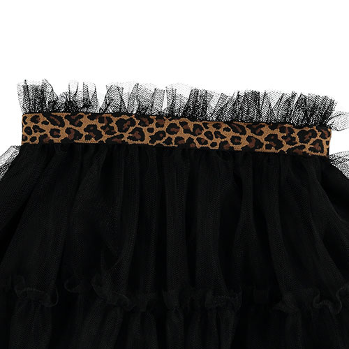 Tocoto Vintage Tulle Skirt with Animal Print Waistband Black (Rok)-3