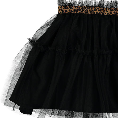 Tocoto Vintage Tulle Skirt with Animal Print Waistband Black (Rok)-4