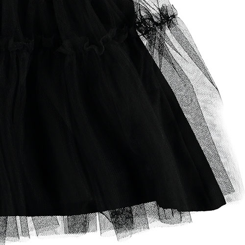 Tocoto Vintage Tulle Skirt with Animal Print Waistband Black (Rok)-5