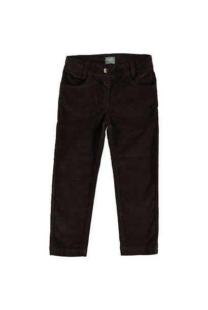 Tocoto Vintage Velvet Elastic Pants with 4 Pockets Dark Brown (Broek)