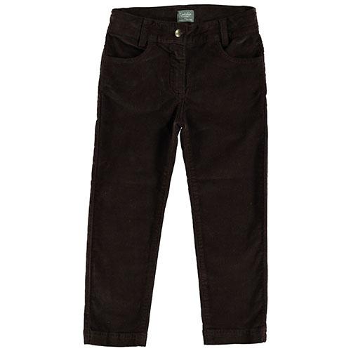 Tocoto Vintage Velvet Elastic Pants with 4 Pockets Dark Brown (Broek)-1
