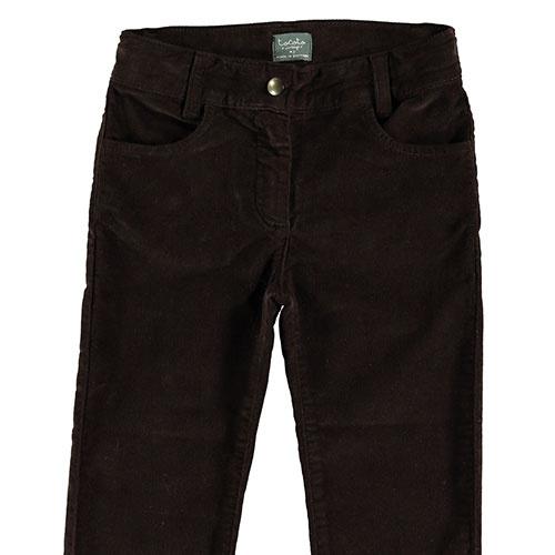 Tocoto Vintage Velvet Elastic Pants with 4 Pockets Dark Brown (Broek)-4