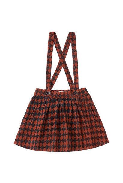 Sproet & Sprout Skirt Straps Diamond AOP Black / Copper Brown (Rok)