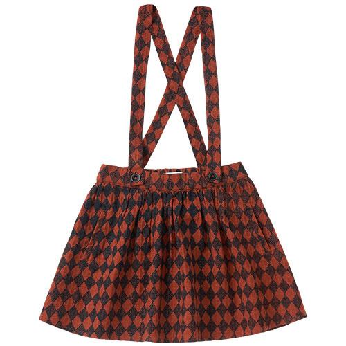 Sproet & Sprout Skirt Straps Diamond AOP Black / Copper Brown (Rok)-1