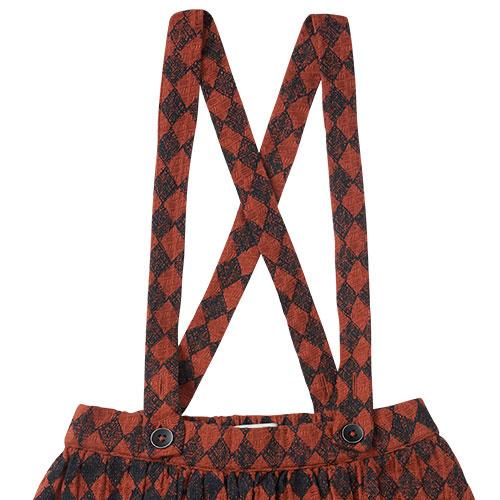 Sproet & Sprout Skirt Straps Diamond AOP Black / Copper Brown (Rok)-6