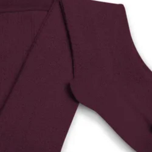 Collegien Collants Angelique maille ajouree laine Merinos Framboise (Maillot)-3