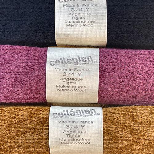 Collegien Collants Angelique maille ajouree laine Merinos Framboise (Maillot)-2