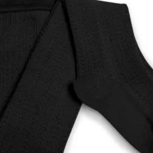 Collegien Collants Angelique maille ajouree laine Merinos Noir de Charbon (Maillot)-3