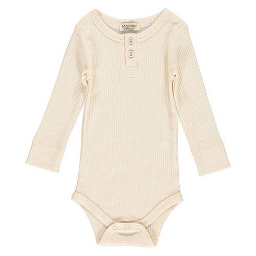MarMar Copenhagen Baby Unisex Modal Body LS Off White (Romper)-1
