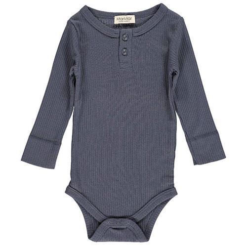MarMar Copenhagen Baby Unisex Modal Body LS Blue (Romper)-1