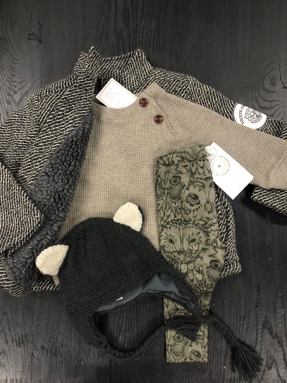 Tocoto Vintage Herringbone Pattern Coat with Tiger Patch & Sheepskin Lining Dark Grey (Jas)-2