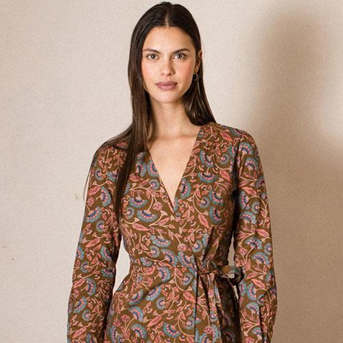 Louise Misha Woman Dress Anouchka Bronze Folk Flowers (Jurk)-4