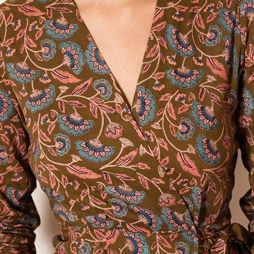 Louise Misha Woman Dress Anouchka Bronze Folk Flowers (Jurk)-5