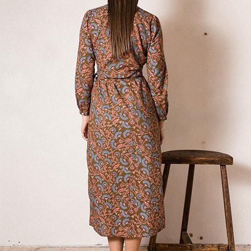Louise Misha Woman Dress Anouchka Bronze Folk Flowers (Jurk)-6