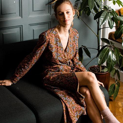 Louise Misha Woman Dress Anouchka Bronze Folk Flowers (Jurk)-2