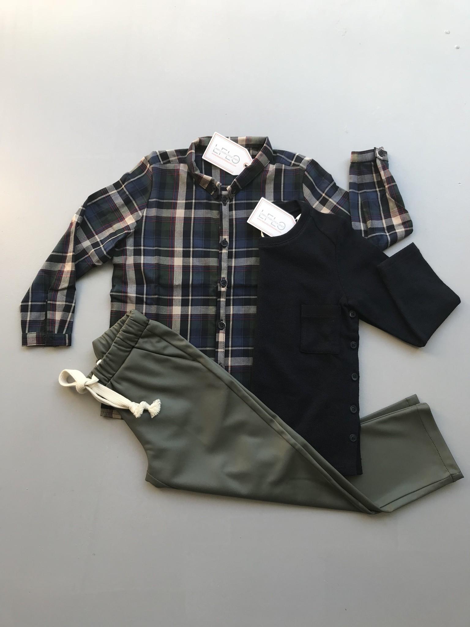 i leoncini Boy Shirt with Checkered Print (Blouse)-2