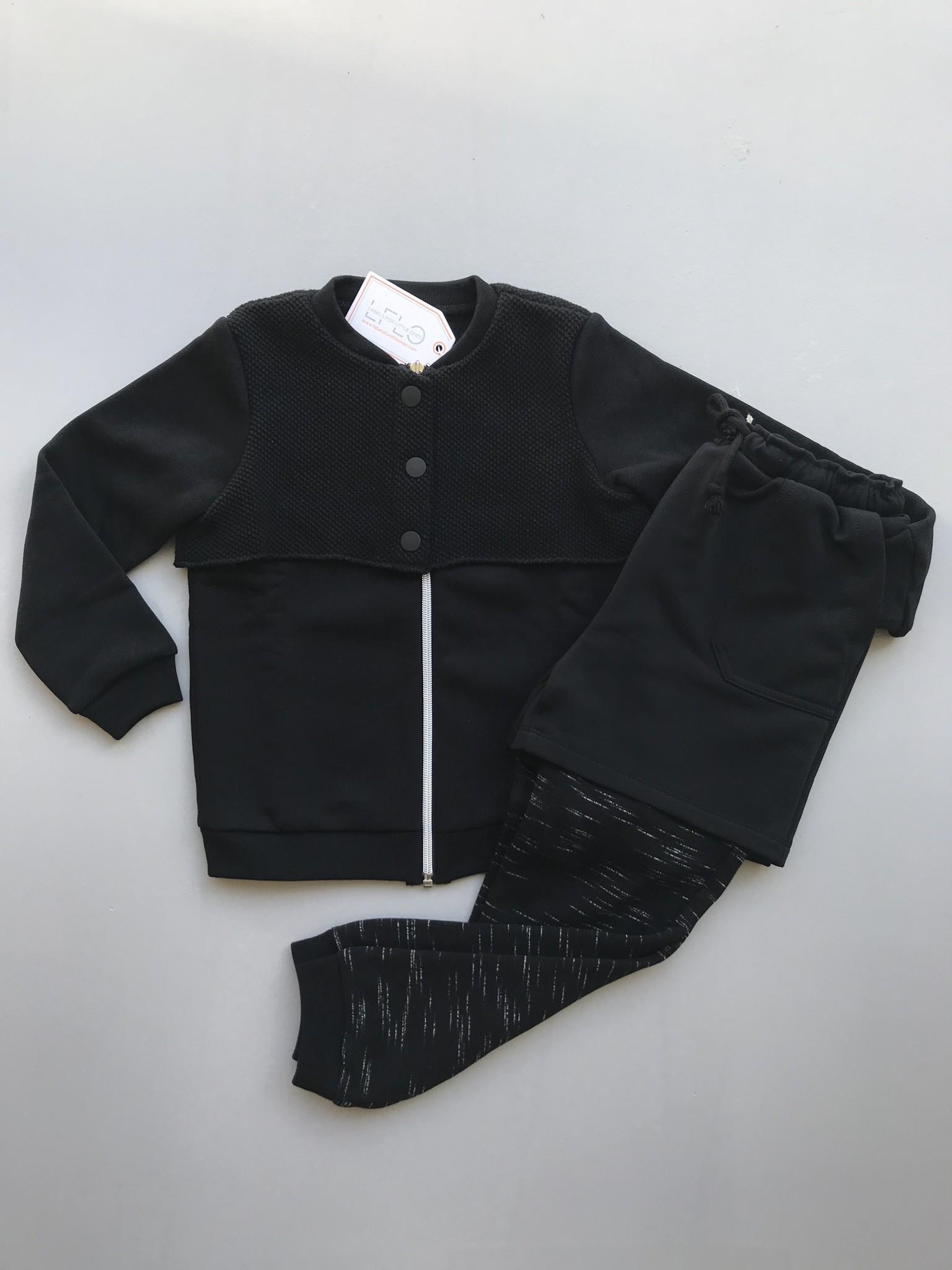 i leoncini Freestyle Pants with Short Black (Broek)-2