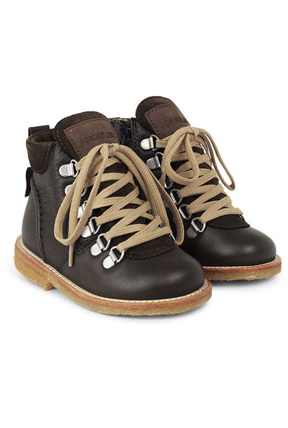 Angulus Lace-up Boot with Zipper and D-Rings dark olive / olijf groen (Veterschoen)